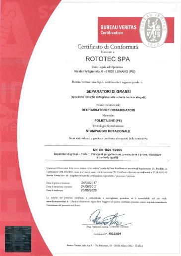 Certificato Conformità Degrassatori Rototec th