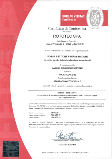 Certificato Conformità Vasche Settiche Rototec th