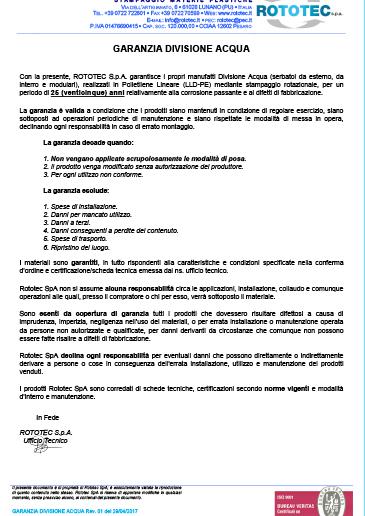 Garanzia Prodotti Acqua Rototec th