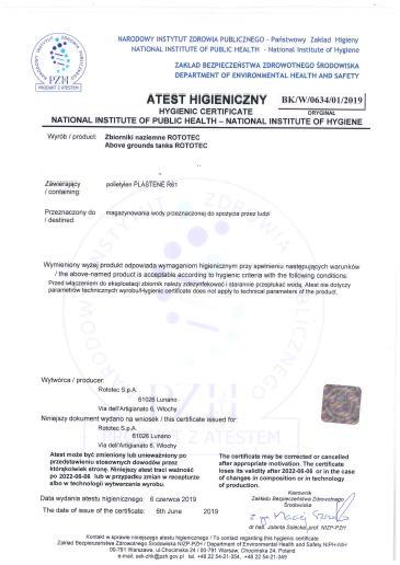 Hygienic certificate Rototec Tanks Poland