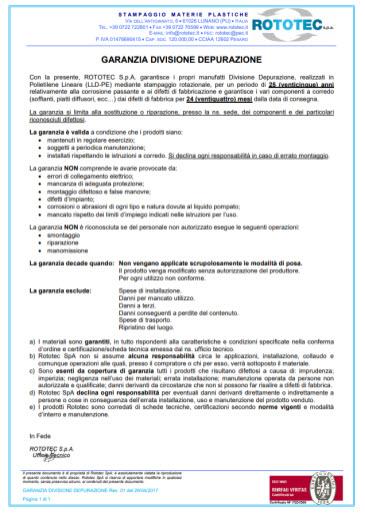garanzia prodotti depurazione rototec