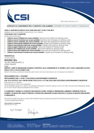 certificato acqua potabile rototec